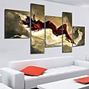 tanie Obrazy: motyw ludzi-Hang-Malowane obraz olejny Ręcznie malowane - Streszczenie Brezentowy Pięć paneli