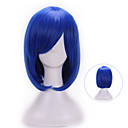 cheap Memory Cards-32 cm harajuku cosplay anime wig young heat resistant synthetic hair dark blue wig party synthetic wigs with bangs Halloween