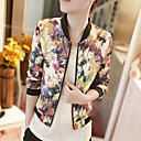 cheap One Pack Hair-Women's Weekend Spring / Fall Short Jacket, Floral / Floral Print Stand Half Sleeve Polyester Print Screen Color M / L / XL