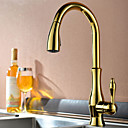 cheap Kitchen Faucets-Kitchen faucet - One Hole Ti-PVD Pull-out / Pull-down Deck Mounted Contemporary Kitchen Taps / Single Handle One Hole