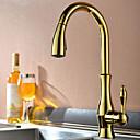 preiswerte Küchenarmaturen-Armatur für die Küche - Ein Loch Ti-PVD Pull-out / Pull-down deckenmontiert Moderne Kitchen Taps / Einhand Ein Loch