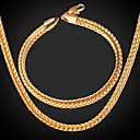 preiswerte Modische Ohrringe-Herrn Schmuck-Set - vergoldet Einschließen Gold Für Hochzeit Party Alltag / Halsketten / Armband
