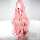 cheap Synthetic Capless Wigs-Synthetic Wig / Cosplay & Costume Wigs Wavy Pink Asymmetrical Haircut / With Bangs Synthetic Hair With Bangs Pink Wig Women's Long Capless