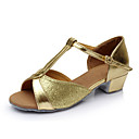cheap Pins and Brooches-Women's Latin Shoes Sparkling Glitter / Satin / Leatherette Sandal Buckle Flat Heel Customizable Dance Shoes Silver / Blue / Gold