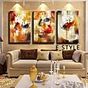 tanie Obrazy olejne-Ręcznie malowane Streszczenie Poziome,Klasyczny Tradycyjne Trzy panele Hang-Malowane obraz olejny For Dekoracja domowa