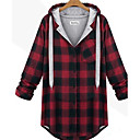 cheap Dog Toys-Women's Plus Size Cotton Long Hoodie Jacket - Check, Print