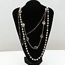 cheap Necklaces-Women's Crystal Statement Necklace / Pearl Strands - 18K Gold Plated, Pearl, Rhinestone European, Fashion Gold Necklace For / Imitation Diamond / Austria Crystal