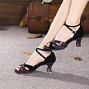 olcso Latin cipők-Női Latin cipők Fordított bőr Magassarkúk Csat Kubai sarok Szabványos méret Dance Shoes Fekete / Kék / Bőr / Gyakorlat