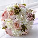 "baratos Bouquets de Noiva-Bouquets de Noiva Buquês Casamento Miçangas Poliéster Cetim Espuma 12.2""(Aprox.31cm)"
