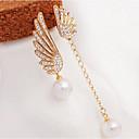 זול שרשרת אופנתית-בגדי ריקוד נשים פנינה פרנזים / לא תואם / ארוך עגילי טיפה - פנינה, דמוי פנינה, אבן נוצצת כנפי מלאך אלגנטית זהב עבור Party / יומי / יהלום מדומה