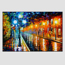 cheap People Paintings-Oil Paintings Modern Landscape Rainy Street Canvas Material With Wooden Stretcher Ready To Hang SIZE:60*90CM. .
