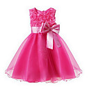 cheap Dog Clothes-Toddler Girls' Sweet Party Floral Bow / Layered Sleeveless Dress Pink 7-8 Years(140cm)
