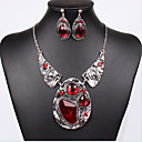 cheap Necklaces-Jewelry Set - Cubic Zirconia Statement, Vintage, Party Include Silver / Red For Party Special Occasion Anniversary / Earrings / Necklace