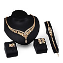 cheap Clutches & Evening Bags-Chunky Jewelry Set - 18K Gold Plated, Cubic Zirconia Vintage, Party, Work Include Gold For Party / Special Occasion / Anniversary / Earrings / Necklace