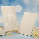 hesapli Düğün Davetiyeleri-Üç Katlanır Düğün Davetiyeleri Diğerleri Davet Kartları Klasik Malzeme İnci Kağıdı Çiçekli