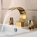 preiswerte Badarmaturen-Waschbecken Wasserhahn - Wasserfall Ti-PVD 3-Loch-Armatur Drei Löcher Zwei Griffe Drei Löcher
