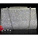 cheap Clutches & Evening Bags-Women's Bags Other Leather Type Evening Bag Crystals Gold / Silver