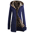 cheap Men's Athletic Shoes-Women's Long Hoodie Jacket - Solid Colored / Leopard Dark Blue L / Winter