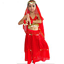 cheap Kids' Dancewear-Belly Dance Outfits Performance Polyester / Spandex Beading / Gold Coin / Paillette Skirt / Bra / Headwear