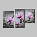 billige Trykk-Hang malte oljemaleri Håndmalte - Blomstret / Botanisk Moderne Inkluder indre ramme / Stretched Canvas