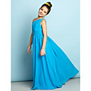 cheap Men's Accessories-A-Line One Shoulder Floor Length Chiffon Junior Bridesmaid Dress with Crystals / Side Draping by LAN TING BRIDE® / Natural / Mini Me