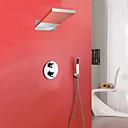 tanie Lampy stołowe-Bateria Prysznicowa - Współczesny Chrom Przytwierdzony do ściany Zawór mosiężny / Mosiądz / Dwa uchwyty trzy otwory