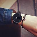 preiswerte Modische Uhren-Herrn / Damen / Paar Modeuhr Armbanduhren für den Alltag / Cool Leder Band Minimalistisch Schwarz / Ein Jahr / Tianqiu 377