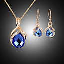 cheap Jewelry Sets-Crystal Jewelry Set - Cubic Zirconia, Rose Gold Plated, Imitation Diamond Party, Fashion Include Blue For Party / Special Occasion / Anniversary / Earrings / Necklace