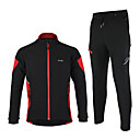 cheap Cycling Jersey & Shorts / Pants Sets-Arsuxeo Men's Long Sleeve Cycling Jacket with Pants - Black / Red / Black / Green Bike Jacket / Clothing Suit, Windproof, Thermal / Warm, Anatomic Design Polyester, Spandex, Fleece