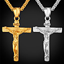 cheap Motorcycle & ATV Parts-Men's Pendant Necklace - 18K Gold Plated Cross Fashion, Hip-Hop Gold, White Necklace Jewelry For Party, Daily Wear, Street