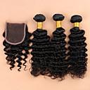 billige Blomstrete dynetrekk-Brasiliansk hår Krøllet Ubehandlet hår Hår Veft Med Lukker Hårvever med menneskehår Hairextensions med menneskehår
