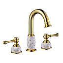 cheap Bathroom Sink Faucets-Bathroom Sink Faucet - Widespread / Sensor Ti-PVD Deck Mounted Two Handles Three HolesBath Taps