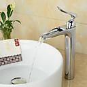 preiswerte Badarmaturen-Moderne Mittellage Wasserfall Keramisches Ventil Einhand Ein Loch Chrom, Waschbecken Wasserhahn