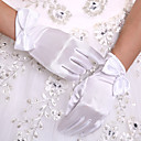 cheap Building Blocks-Stretch Satin Wrist Length Glove Bridal Gloves With Bow
