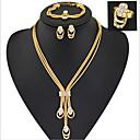 abordables Collares para Hombre-Mujer Conjunto de joyas Juego de Joyas - Zirconia Cúbica, Diamante Sintético Dorado