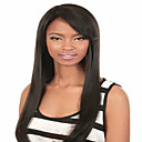 preiswerte Kuchenbackformen-Synthetische Perücken Glatt Synthetische Haare Schwarz Perücke Damen Mittlerer Länge Kappenlos Schwarz