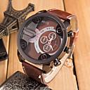 cheap LED Strip Lights-Men's Quartz Military Watch / Sport Watch Cool / Casual Watch Leather Band Black / Orange / Brown