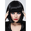 cheap Kitchen Cleaning Supplies-Synthetic Wig Straight Bob Haircut / With Bangs Synthetic Hair Black Wig Women's Short Capless