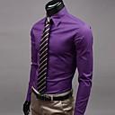 זול אירגוניות לרכב-אחיד צווארון קלאסי רזה עבודה מידות גדולות כותנה, חולצה - בגדי ריקוד גברים בסיסי / שרוול ארוך