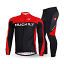 cheap Personal Protection-Nuckily Men's Long Sleeves Cycling Jersey with Tights - Black Bike Clothing Suits, Thermal / Warm, Anatomic Design, Fleece Lining,
