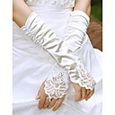 cheap Latin Dance Wear-Cotton / Satin / Polyester Wrist Length / Elbow Length Glove Charm / Stylish / Bridal Gloves With Acrylic / Embroidery / Solid