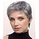 cheap Synthetic Wigs-Synthetic Wig Straight Synthetic Hair Gray Wig Short Capless