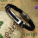 cheap Men's Necklaces-Men's Anklet Leather Bracelet Bracelet - Vintage, Casual, Fashion Bracelet Black For Gift Valentine