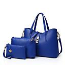 abordables Relojes de Mujer-Mujer Bolsos PU Tote / Bolsa de hombro / Conjuntos de Bolsa 3 piezas de monedero conjunto Remache Un Color Rojo / Azul / Rosa