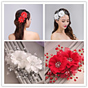 cheap Party Headpieces-Tulle Imitation Pearl Hair Combs Flowers 1 Wedding Special Occasion Headpiece