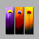cheap Rolled Canvas Paintings-Oil Painting Hand Painted - Floral / Botanical Modern Stretched Canvas / Three Panels