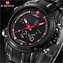 baratos Relógio Esportivo-NAVIFORCE Homens Relógio de Pulso Impermeável / LED Aço Inoxidável Banda Luxo Preta / Maxell2025 / Dois anos