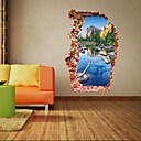 preiswerte Wand-Sticker-Landschaft Romantik Mode Formen Botanisch Cartoon Design Fantasie 3D Wand-Sticker 3D Wand Sticker Dekorative Wand Sticker, PVC Haus