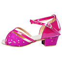 cheap Latin Shoes-Women's Latin Shoes Flocking / Synthetic / Satin Sandal Low Heel Non Customizable Dance Shoes Pink / Silver / Gold / Indoor / Performance