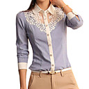 cheap Artificial Flower-Women's Shirt - Solid Colored Blue & White, Lace Shirt Collar